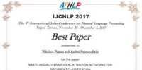 Idiap Researchers Nikolaos Pappas and Andrei Popescu-Belis awarded at the IJCNLP 2017
